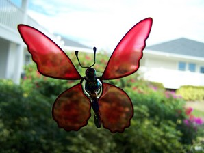 Red Wobbler Butterfly Suncatcher