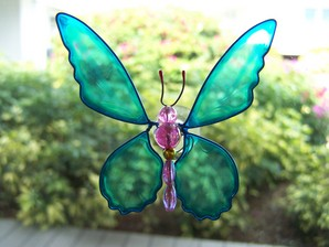 Blue Butterfly Wobbler Suncatcher